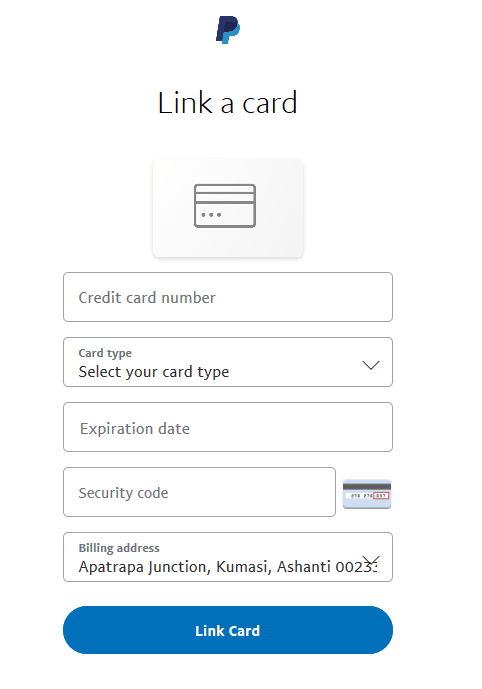 linking card to paypal account