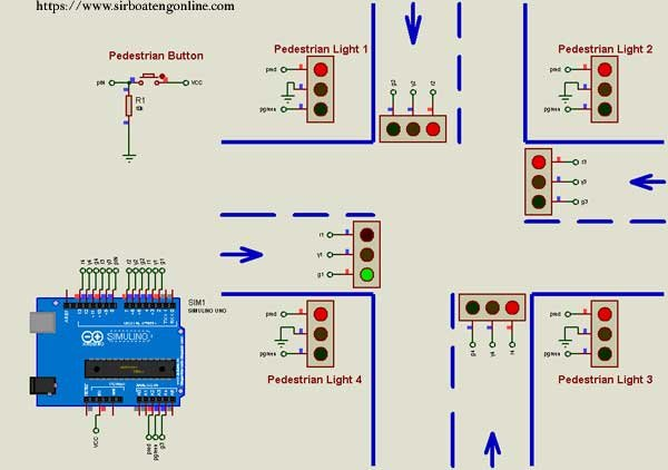 4 - way Traffic system using Arduino Uno and Proteus ISIS