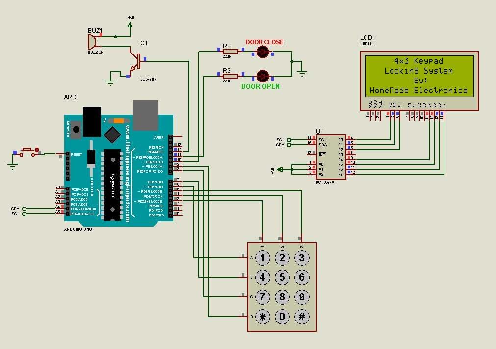 Circuit diagram of the Proteus pincode locking system