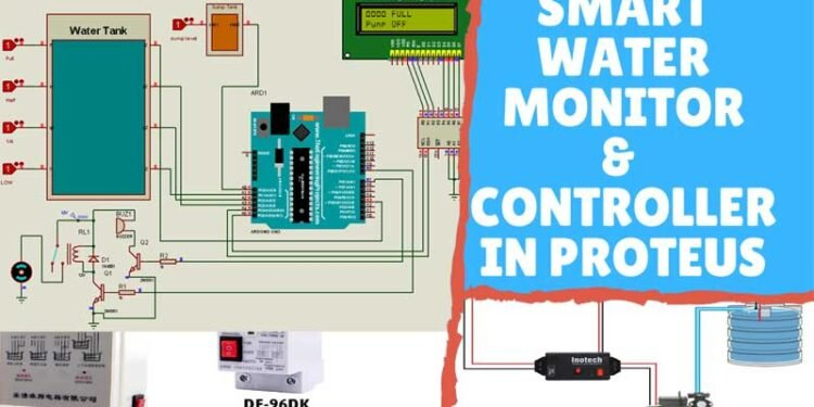 Automatic Water Level Monitor & Controller in Proteus